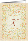 Monogram, Letter K with yellow background card