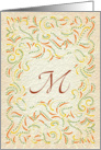 Monogram, Letter M with yellow background card