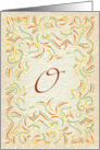 Monogram, Letter O with yellow background card
