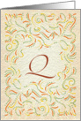 Monogram, Letter Q with yellow background card