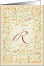 Monogram, Letter R with yellow background card