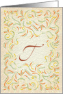 Monogram, Letter T with yellow background card