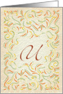 Monogram, Letter U with yellow background card