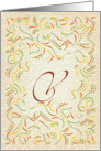 Monogram, Letter V with yellow background card