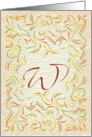 Monogram, Letter W with yellow background card