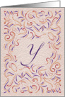 Monogram, Letter Y with red background card
