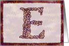 Ornamental Monogram 'E' with warm red background card