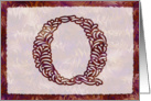 Ornamental Monogram 'Q' with warm red background card