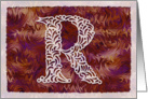 Ornamental Monogram 'R' with warm red background card