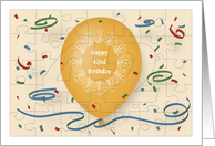 Happy 42nd Birthday with orange balloon and puzzle grid card