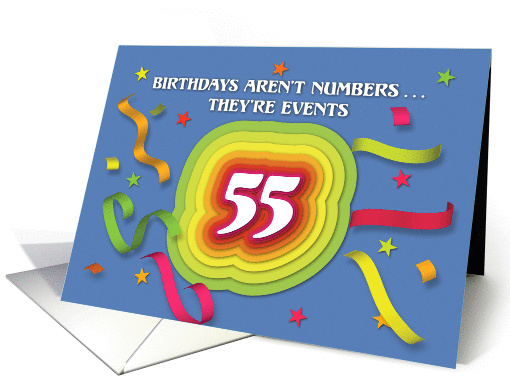 Happy 55th Birthday Celebration with confetti and streamers card