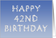 Happy 42nd Birthday written in clouds card