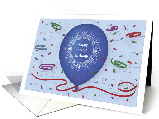 Happy 102nd Birthday with blue balloon and puzzle grid card (1272136)