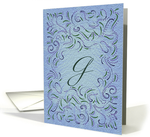 Monogram, Letter G with blue background card (946545)