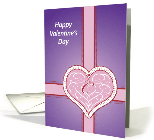 Valentines Day, monogram 'C' with pink heart, Blank Note card (981267)