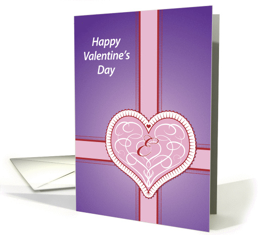 Valentines Day, monogram 'E' with pink heart, Blank Note card (981273)