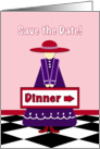 Lady in Red Hat Dinner Invitation card