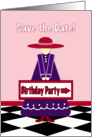 Lady in Red Hat Birthday Party Invitation card