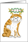 Cat Antlers Holly card