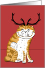 Smiling Cat with Antlers card