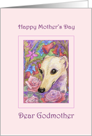 Happy Mother's Day Godmother card, Whippet dog among flowers card