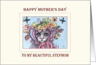 Happy Mother's Day Stepmom, Cat in a bonnet Mother's Day card