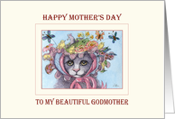 Happy Mother's Day Godmother, Cat in a bonnet Mother's Day card