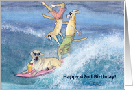 paper greeting card, birthday card, 42, forty-two, dog, card