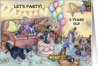 birthday party invitation, 5, five, fifth, card
