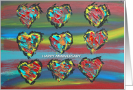 Anniversary Painted Hearts card