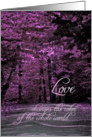 Blank Note Card, Love, Black and White Road to Lavender Trees card