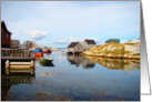 Blank Note Card, Fishing Village on Bay, Water Reflections card