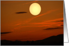 Blank Note Card, Full Moon in Red Sky at Sunset, Over Mountains card