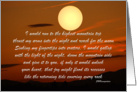 Encouagement, Love, Full Moon in Red Sky at Sunset, Over Mountains card