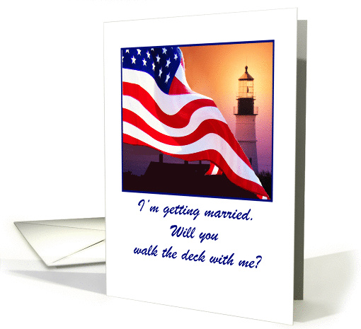 Wedding, Navy, Invitation to Stand Up With, American Flag... (651644)
