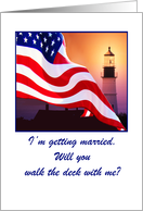 Wedding, Navy, Invitation to Stand Up With, American Flag Flutter By Lighted Lighthouse card