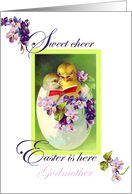 Easter, Godmother, Vintage Painting, Two Singing Chicks Singing in Egg Shell, Violets card