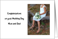 Congratulations, Wedding, Mom, Dad, Barefoot Girl Child Holds Bouquet card