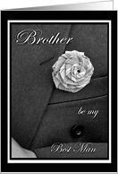 Brother Best Man Invitation, Jacket and Flax Flower card