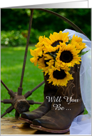 Be My Bridesmaid,Country Sunflowers and Boots,Custom Personalize card