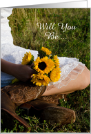 Will You Be My Bridesmaid,Cowgirl and Sunflowers,Custom Personalize card