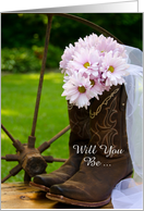Be My Bridesmaid,Country Pink Daisies and Boots,Custom Personalize card