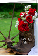 Be My Bridesmaid,Country Red Roses and Cowboy Boots,Custom Personalize card
