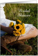 Bridal Shower Invitation,Cowgirl and Sunflowers,Custom Personalize card