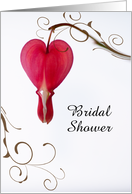 Bridal Shower Invitation,Red Bleeding Heart,Custom Personalize card