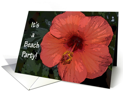 Beach Party Invitation-Red Hibiscus Flower card (165790)