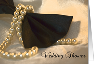 Wedding Shower Invitation Black Bow Tie and Pearls card