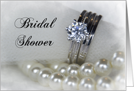 Bridal Shower Invitation Wedding Rings and Pearls card