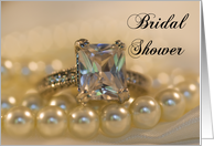 Bridal Shower Invitation Princess Cut Diamond Ring and Pearls card