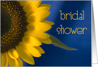 Bridal Shower Invitation Sunflower on Blue card